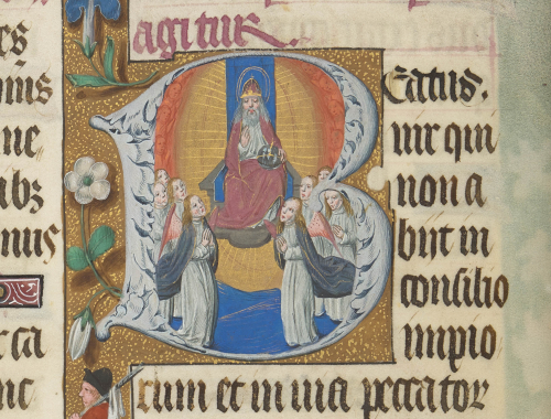 Decorated initial containing a picture of God the Father surrounded by angels