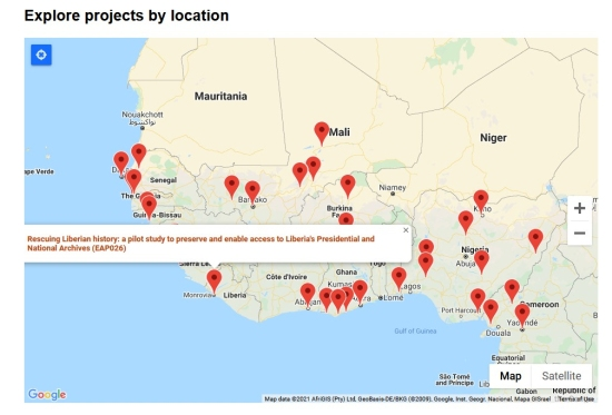 Screenshot of part of the EAP map depicting the projects in West Africa