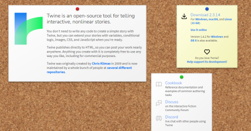 screen image of the Twine homepage, a cork noticeboard with pinned notes on it