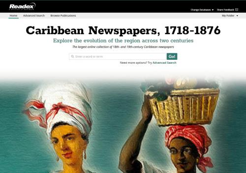 Readex Caribbean Newspapers online landing page