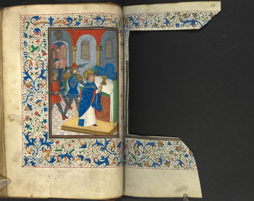 Medieval manuscript double-page with a picture of the martyrdom of Becket on the left and the parchment cut away at the right