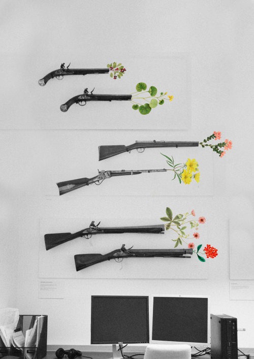Example of images created to respond to the weaponry on the walls by Hannah Nagle (Senior Imaging Support Technician), showing flowers blooming from the muzzles of shotguns