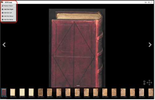 A screen shot showing the cover of a book with a red binding, with thumbnails of pages on the bottom, and the file menu in the top left hand corner dropped down and highlighted in a red box with rounded edges