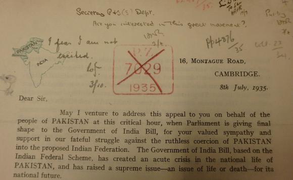 Rahmat Ali's circular letter of 1935