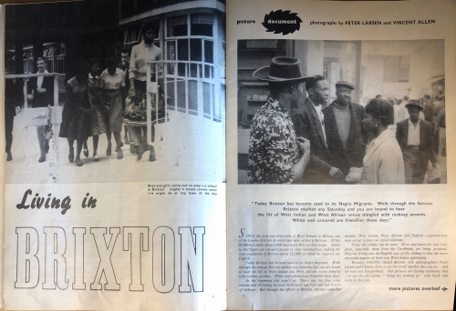 Article about living in Brixton, B&W photos and text