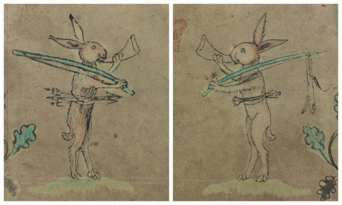 A rabbit huntsman sets out and returns with his quarry