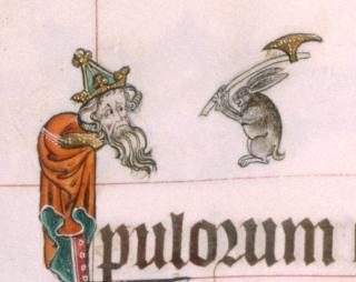 An axe-wielding rabbit approaches a king