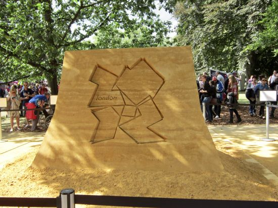 sand sculpture at Horse Parade Grounds with text Olympics 2012