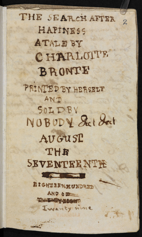 Scan of frontispiece from 'A Search for Hapiness' by Charlotte Bronte