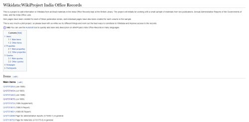 Image of the WikiProject page for the India Office Records