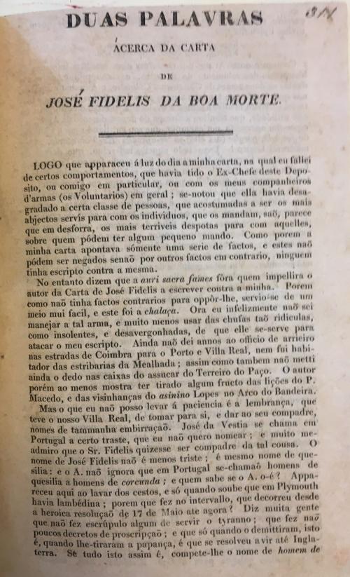 Opening of 'Duas palavras ácerca da Carta de José Fidelis da Boa Morte'