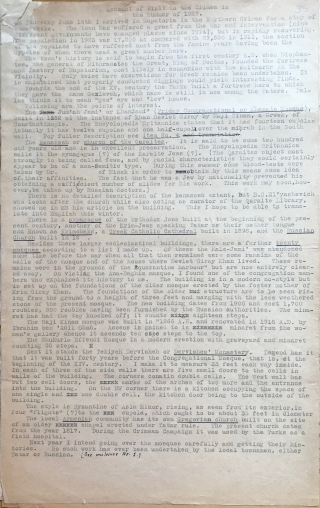 A foolscap page of Latin-script text typed on a typewriter with some words and phrases either crossed out in pen or cancelled with typed x's