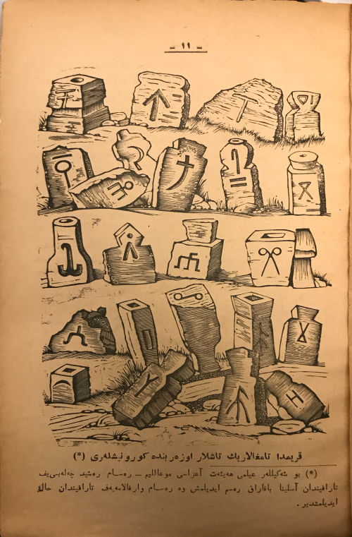 A yellowed page with lithographed reproduction of a sketch featuring stone monuments each bearing a different tamga symbol on them, entirely in black and white, above and below typed Arabic-script text