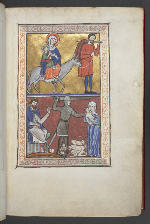 Miniature of the Flight into Egypt above, and the Slaughter of the Innocents below