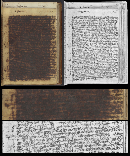 Manuscript with Iron gall ink corrosion