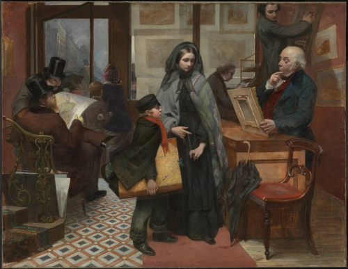 Emily Mary Osborn's Nameless and Friendless, showing a woman attempting to sell a painting to a gallery