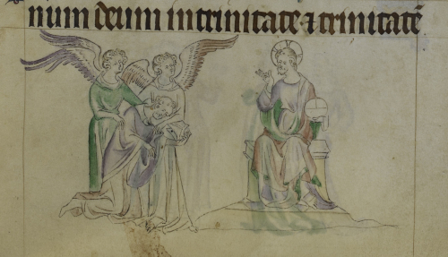 Drawing of Thomas Becket, supported by two angels, kneeling before the Lord