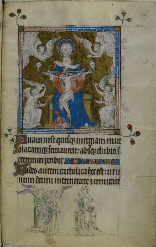 The Trinity, surrounded by four angels, with a bas-de-page drawing of Thomas Becket