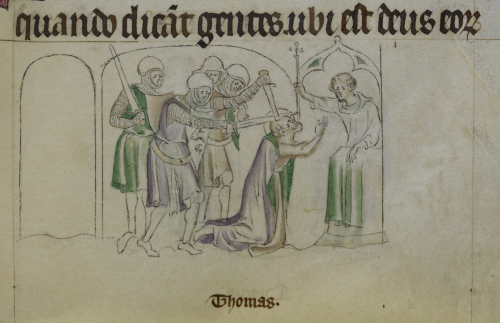 Two knights from a group of four attack a kneeling saint with swords, while a man holds a cross over him. The word Thomas is written beneath