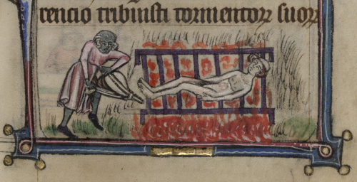 A tonsured, nude figure is burned on a brazier over red flames, while a figure uses bellows to stoke the fire