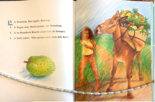 Open page of children's book including a rhyme and an illustration