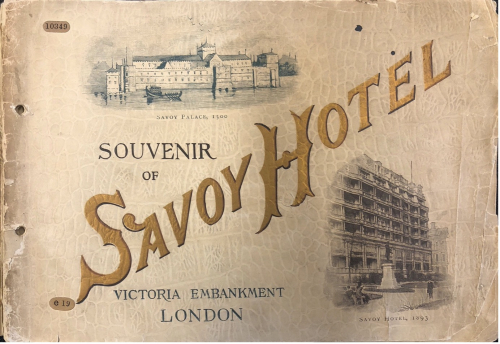 Front cover with gold writing and sketches of the Savoy Hotel