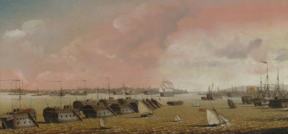 Prison hulks in Portsmouth Harbour