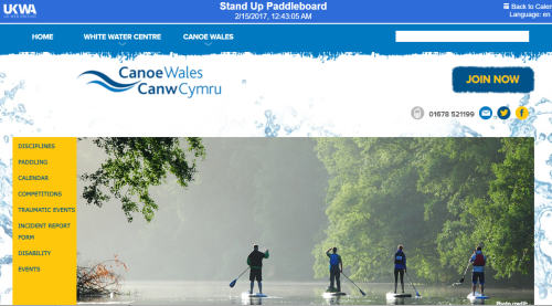Canoe Wales website SUP