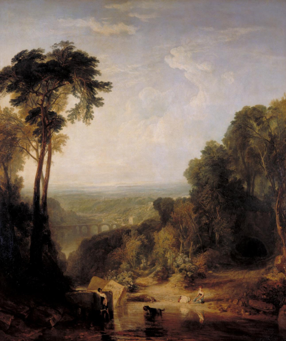JMW Turner, Crossing the Brook - view of the Tamar Valley with three girls at the brook. One has waded across, and is looking back to her dog in midstream which is carrying her basket.  The other girls are preparing to cross.