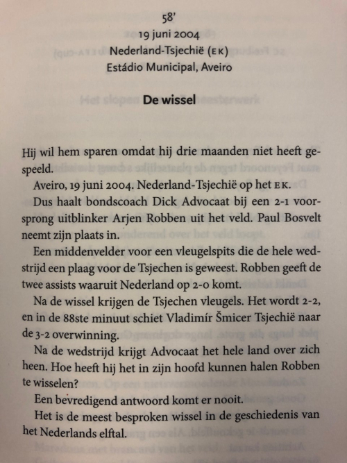 First page of 'De Wissel'. In: Maarten Moll, Wat een goal!