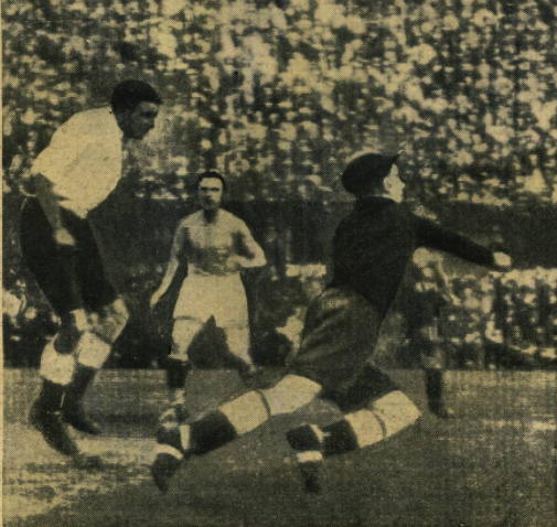 England v Italy 1933 - England goalkeeper Hibbs punching out the ball.
