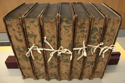 The seven volumes photographed with their textblocks (rather than spines) facing us. The pages have a marbled appearance and six of the seven books have cotton string holding the books together.