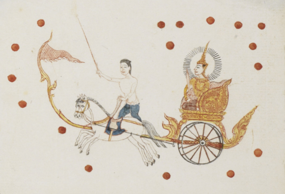 Lord Moon (Phra Chan), travelling across the sky in a horse-drawn chariot