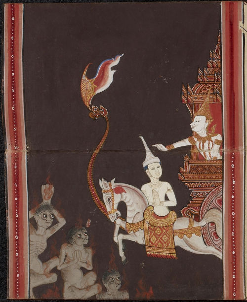 Scene from the Nemi Jataka in a paper folding book, central Thailand, 19th century