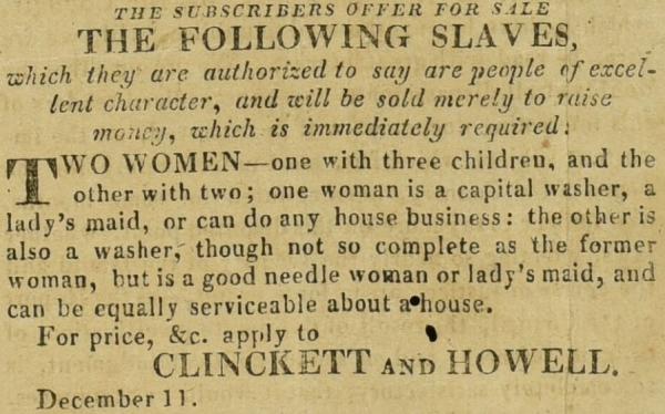 Enslaved people for sale advert