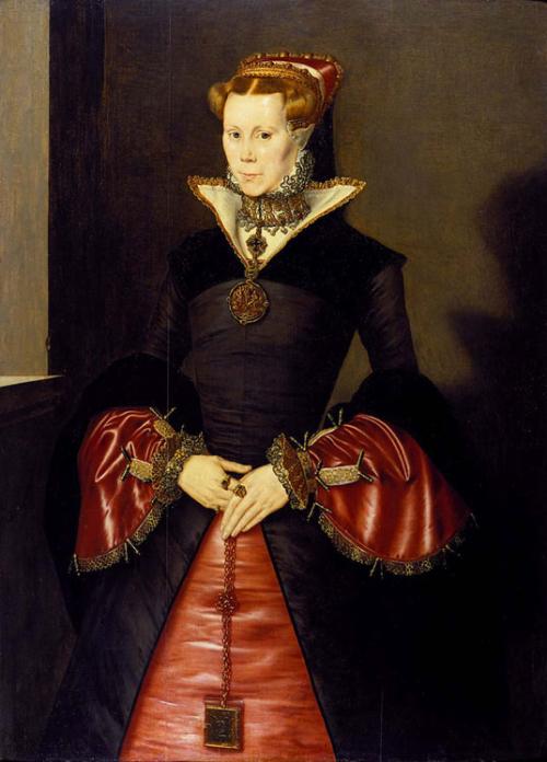 Portrait of Mary Tudor wearing a girdle book by Hans Eworth