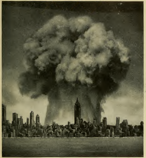 Nuclear cloud superimposed over the New York skyline