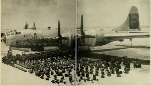 Rows of recording equipment in front of an airplane.