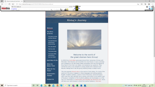 Screen shot of the website Kiviuq's Journey taken from the Internet Archive.
