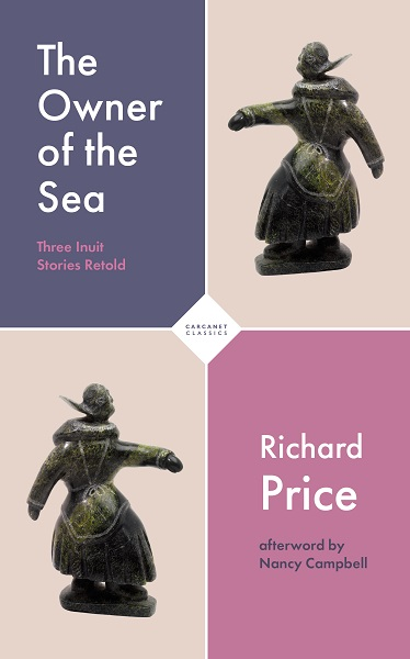 Purple cover of The Owner of the Sea: Three Inuit Stories Retold, by Richard Price, depicting a sculpture of an Inuit woman.