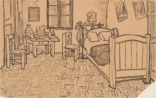 Sketch of bedroom by Van Gogh