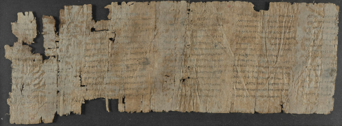 Back of a papyrus roll bearing portions of five columns of Greek writing