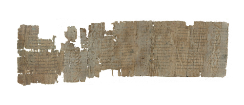 A papyrus roll consisting of two fragments housed in two collections, now joined
