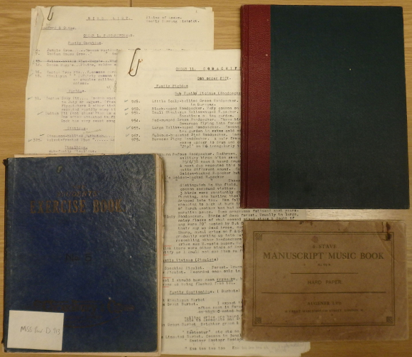 Overview of papers of Dorothea Craigie Milburne spread out on a table