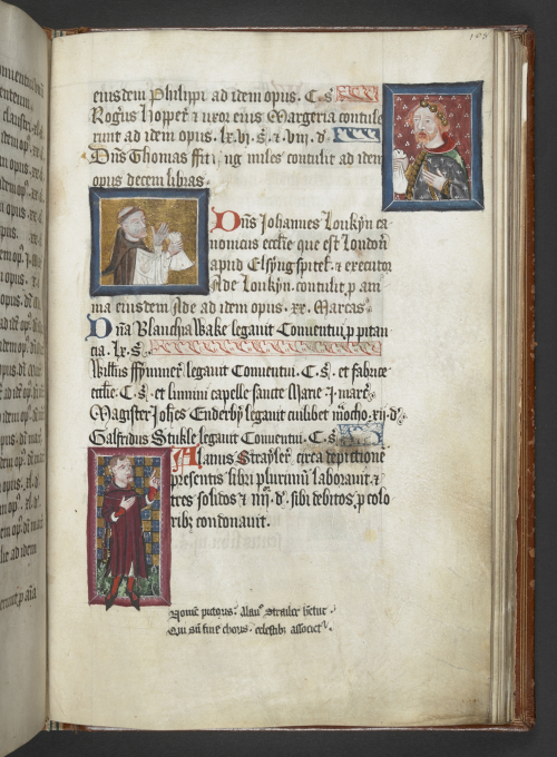 A page from the Benefactors' Book of St Albans, showing three portraits of figures recorded in the manuscript.