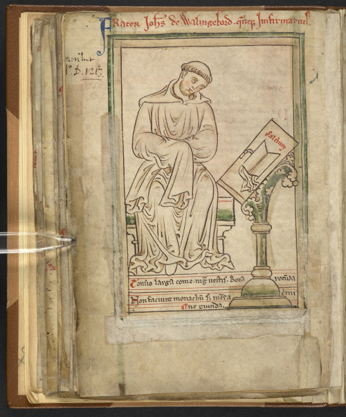 A page from the Collectanea of the chronicler and monk John of Wallingford, showing a portrait of him sat before an open book on a stand.