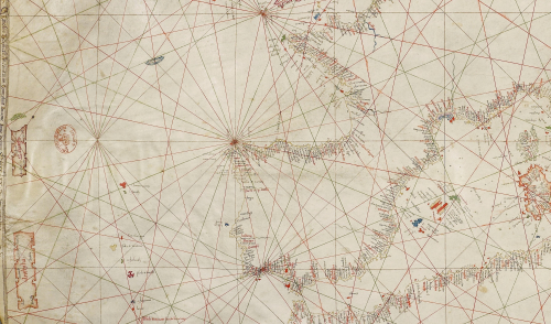 Detail from the Benincasa chart showing the mythical islands of Antilia & Salvaga.