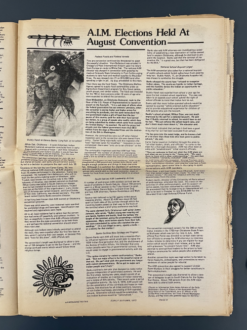 A magazine page with three columns of text, a black and white photograph of a man with long hair wearing a headband and two other black and white illustrations of a bird and an old woman.
