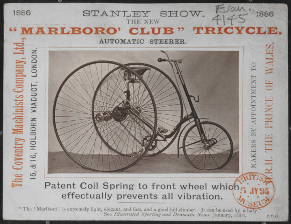 Advertisement for the new Marlboro' Club tricycle 1886