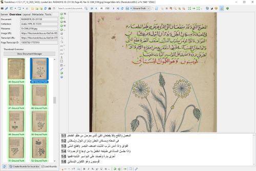 Regions, text lines and illustrations demarcated as ground truth, as shown in Transkribus (Shelfmark: Or 3366). Digitised and available on Qatar Digital Library.